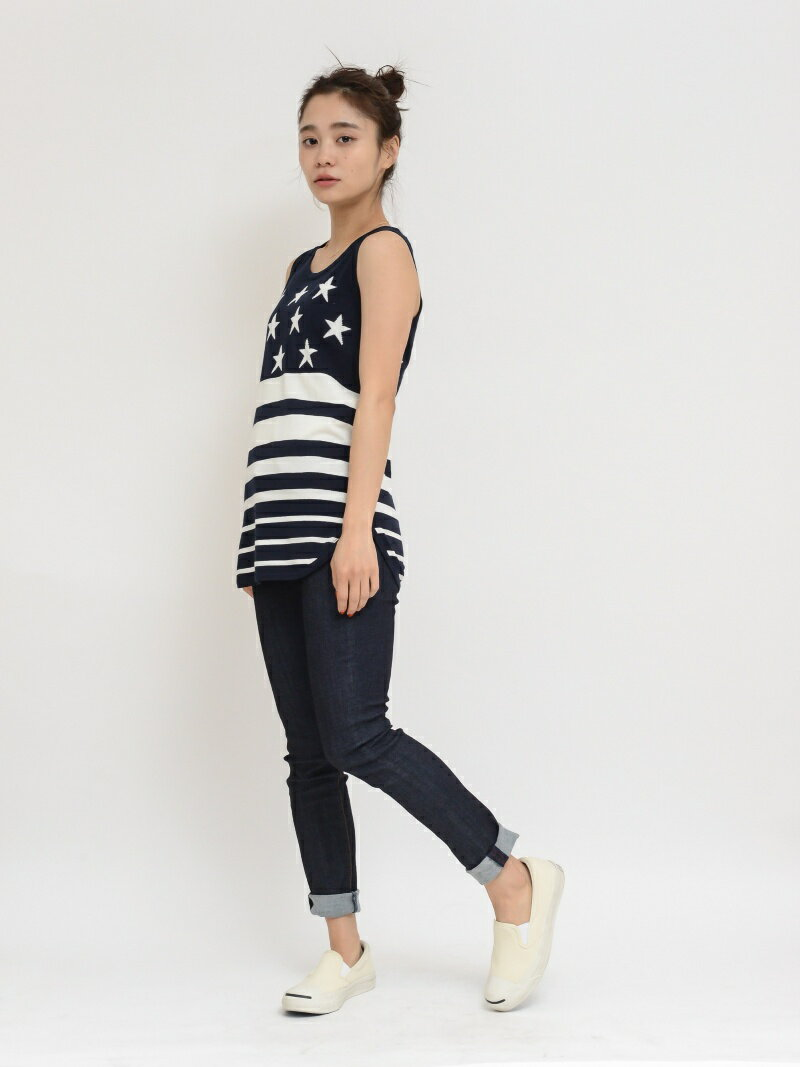 【SALE/45%OFF】X-girl STRIPED KNIT LONG TANK TOP エックスガール カットソー【RBA_S】【RBA_E】【送料無料】