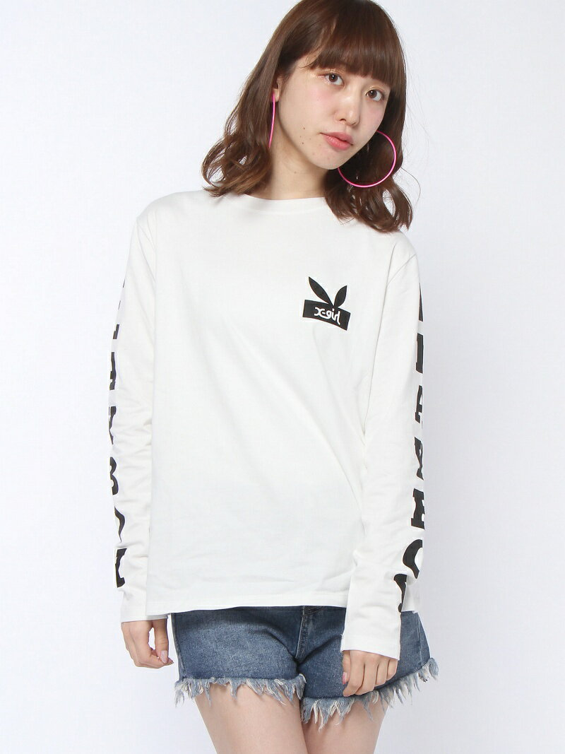 【SALE/35%OFF】X-girl X-girl x PLAY BOY SLEEVE LOGO L/S TEE エックスガール カットソー【RBA_S】【RBA_E】【送料無料】