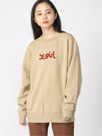[Rakuten Fashion]PATCH LOGO CREW SWT X-girl エックスガール カットソー スウェット ベージュ ブラック ブルー オレンジ【送料無料】