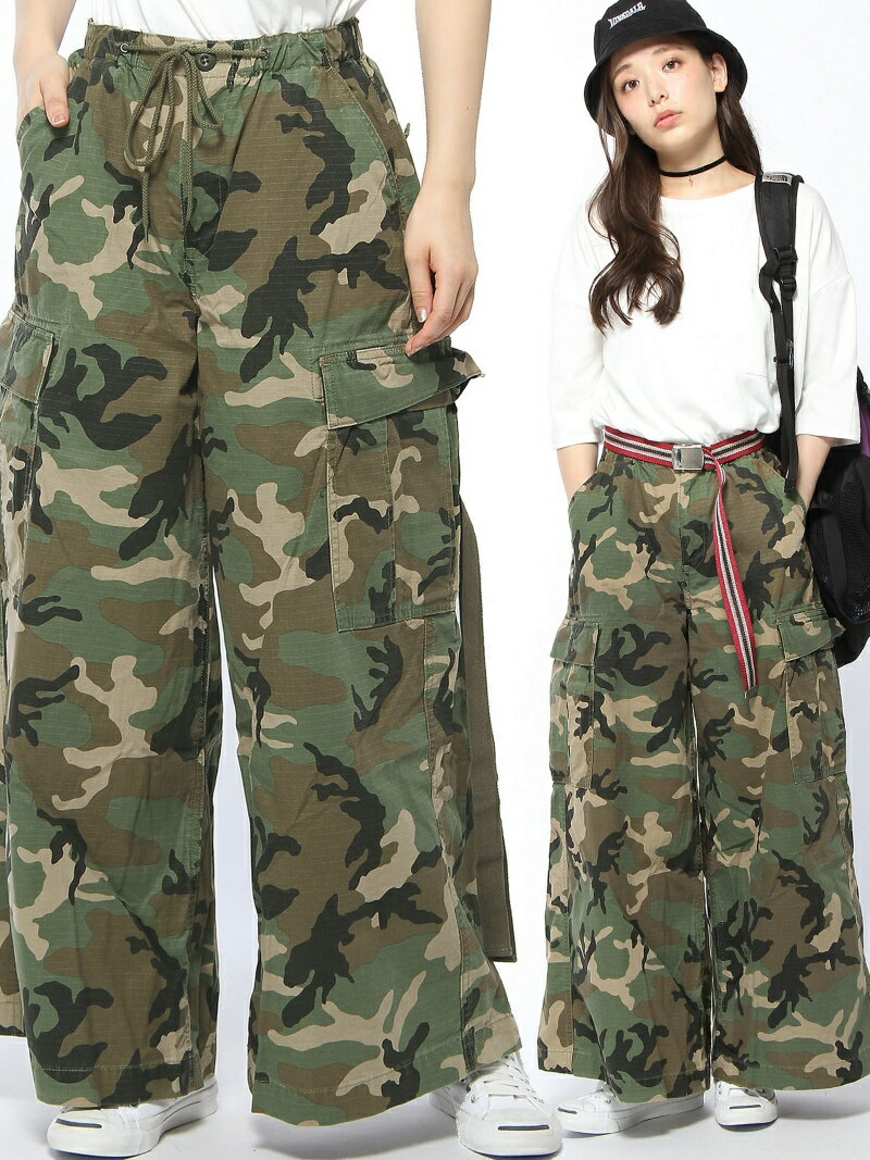 【SALE/45%OFF】X-girl MILITARY WIDE LEG PANTS エックスガール パンツ/ジーンズ【RBA_S】【RBA_E】【送料無料】