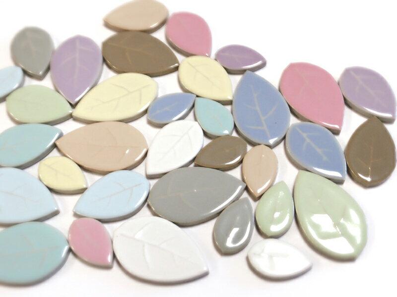 大きさも色も全てをMIXモザイクタイル リーフMIX 100g*お色やサイズの指定はできません。【ゆうパケット可】【500gまでゆうパケット可能】