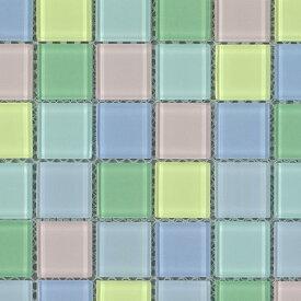 キララグラスモザイクタイル 25MIXガラスタイル 25mm角 6×12粒 72粒シート貼り