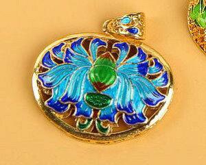 七宝焼き蓮柄アクセサリー ペンダントヘッド  中国伝統工芸 民族風ネックレスパーツ