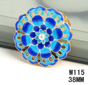 七宝焼き花型アクセサリー パール付き ペンダントヘッド  中国伝統工芸 民族風ネックレスパーツ