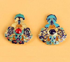 七宝焼きアクセサリー 霊芝柄 ペンダントヘッド  中国伝統工芸 民族風ネックレスパーツ