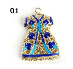 七宝焼き衣装型アクセサリー ペンダントヘッド  中国伝統工芸 民族風ネックレスパーツ