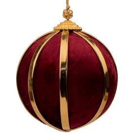 【12/28〜1/5】冬期休暇 ベルベット ボール クリスマス オーナメント 直径9cm バーガンディ