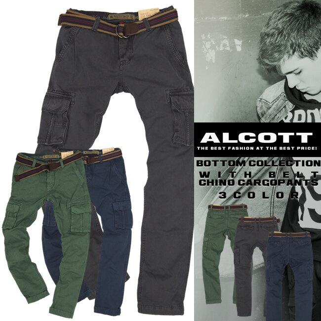 アルコット チノ カーゴパンツ メンズ スラックス ボトム コットン PANTS BOTTOMS ALCOTT イタリア Italy インポート 本物 正規品 通販