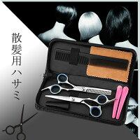 散髪理容はさみヘアカットスキバサミ2本セット収納ケース付き美容師散髪すきばさみセルフカットゆうメール送料無料
