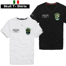 Tシャツ メンズ 半袖 スカル ドクロ 迷彩スカル バックプリントあり Vネック