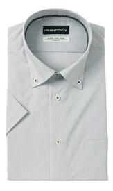 盛夏用 グレー系 ボタンダウンスタイリッシュワイシャツ《半袖》 URBAN SETTER BLACK