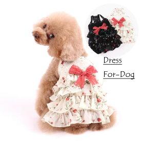 犬服 犬 服 春夏 花柄 リボン付き シフォン ワンピース 薄手 ホワイト ブラック