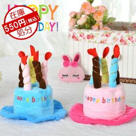 犬 犬用 ドッグ 帽子 誕生日 お祝い キュート ブルー ピンク