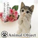 アニマルオブジェ キャット・サバ白(S) おねだりネコ べニーズキャット 猫の置物 アニマルオブジェ インテリア 猫 ネ…