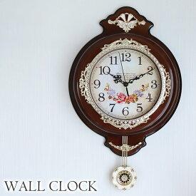 [P5倍 6/26 2時まで] 振り子時計 ウォールクロック 壁掛け時計 ブラウン 時計 壁掛け クラシック ロココ ローズ アンティーク 姫系 インテリアクロック おしゃれ 可愛い インテリア 雑貨
