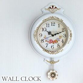 [P5倍 6/26 2時まで] 振り子時計 ウォールクロック 壁掛け時計 ホワイト 時計 壁掛け クラシック ロココ ローズ アンティーク 姫系 インテリアクロック おしゃれ 可愛い インテリア 雑貨