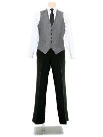 【レンタル】当日発送 ベストレンタル[ダブルストライプ][身長170〜180][シルバー][M][L][LL]結婚式 冠婚葬祭 二次会 fy16REN07