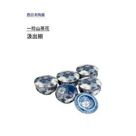 汲出揃 有田焼 一珍山茶花 西日本陶器 KG09-01 / 日本製 汲出 お茶用品 セット 磁器 和風 和食器 花柄 グレー /