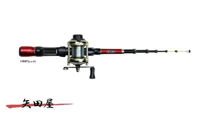 OGK チビテトラセット3 105BT/BTレッド 穴釣り ロッド+ベイト糸付きリール