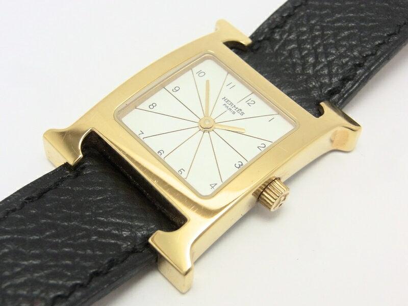 【中古】【美品】エルメス Hウォッチ HH1.201 オールアッシュ GP ゴールド レディース ホワイト文字盤 腕時計