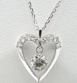 【大幅値下げ致しました!!】k18WG ホワイトゴールドダイヤモンド ネックレス ハート【中古】【美品】【ノーブランド】