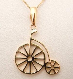 【中古】【程度A】【ノーブランド】K18 YG イエローゴールド  ネックレス 自転車デザイン