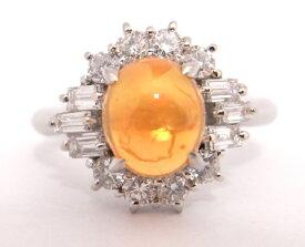 【大幅値下げ致しました!!】Pt900 プラチナ 指輪 メキシコオパール ダイヤモンドノーブランド リング【中古】【程度A-】
