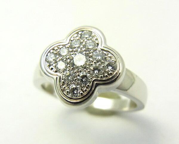 【中古】【程度A】【美品】ヴァンクリーフ&アーペル Van Cleef & Arpels ピュア アルハンブラ 750 WG ホワイトゴールド ダイヤモンド#47 フラワー リング 指輪