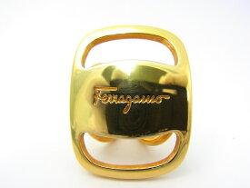 【中古】【程度B】【良品】サルヴァトーレ・フェラガモ Salvatore Ferragamo スカーフリングゴールドカラー ロゴ入り