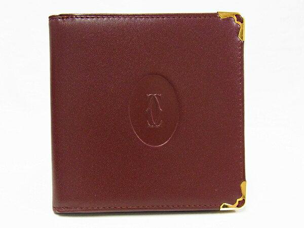 【中古品】【美品】【程度A+】カルティエ cartier マストライン 二つ折り財布 レザー ボルドー 赤