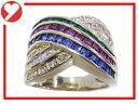 【中古】【程度A】【美品】K18 750 YG イエローゴールド 指輪 リングノーブランド ダイヤ ルビー サファイア エメラルド
