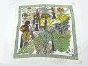 【中古品】【程度A】【美品】エルメス HERMES スカーフシルク100% レディースジャングル ライオン ホワイト
