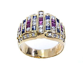 【中古】【程度A】【美品】【新品仕上げ済み】K18 YG イエローゴールド 指輪 ダイヤ0.59ct サファイア0.41ct ルビー0.45ctノーブランド リング