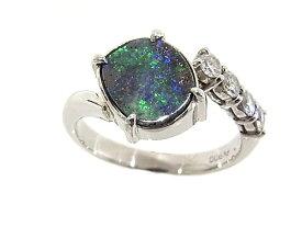指輪 リング Pt900 プラチナブラックオパールリング ダイヤモンド入り【中古】【程度A】【質屋出品】【ノーブランド】