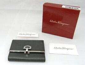 【値下げ致しました!】【美品】フェラガモ SalvatoreFerragamo コンパクト財布 サイフ 札入れグレー ガンチーニ金具