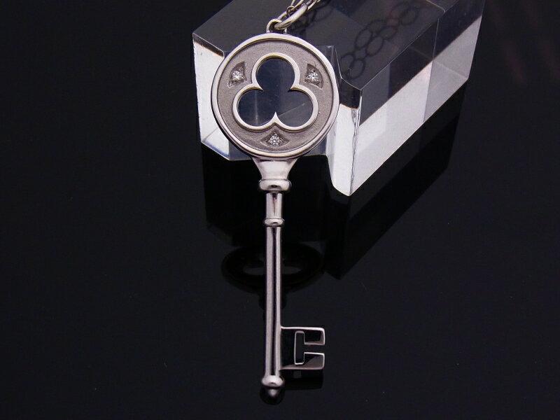 【中古】【程度A】【美品】ティファニー TIFFANY&CO キー ネックレス ダイヤモンド ペンダント K18 750 ホワイトゴールド クローバー