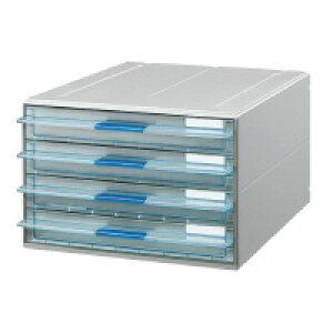 コクヨ レターケース<UNIFEEL>A4タテ 透明引き出しタイプ 浅型4段 (LC-UNT104M)