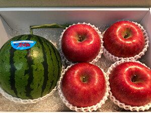 【お中元ギフト】スイカ りんご詰め合わせ【送料無料】スイカ1玉 リンゴ4個 果物詰め合わせギフト 贈答用