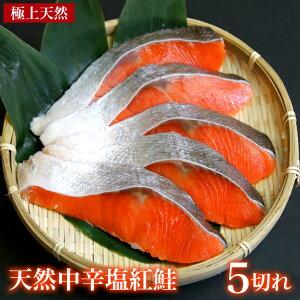 天然紅鮭 中辛 5切れ おためしべにさけ 天然鮭 朝食用さけ おいしい魚 酒の肴 酒のさかな おかずになる魚