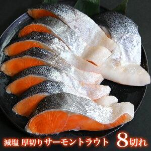 超厚切りサーモン8切れ 1切れ100g以上 甘塩 ノルウェー産 減塩 厳選 サーモントラウト 豪快バーベキュー 厚切りサーモンステーキ 洋食にはサーモン 美味しい鮭