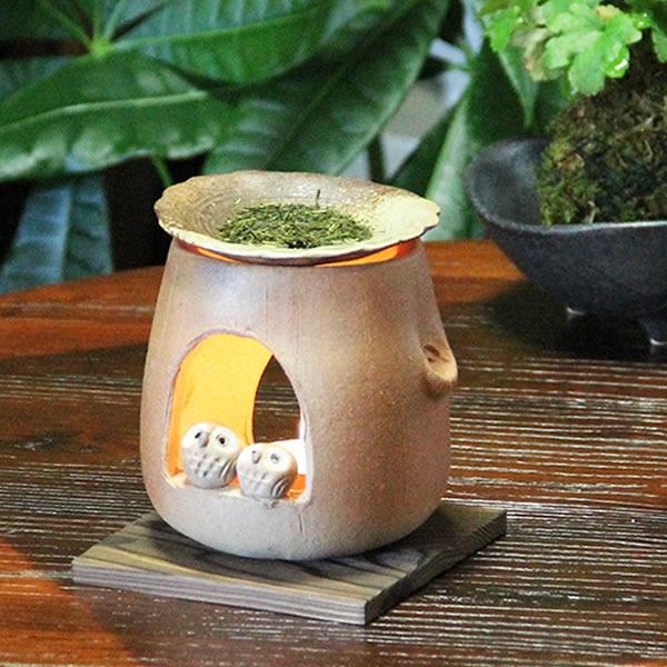 茶香炉 【送料無料】 ふくろう茶香炉 信楽焼 アロマポット陶器 茶こうろ お茶 ギフト やきもの 仲良しフクロウ茶香炉[ty-0009]