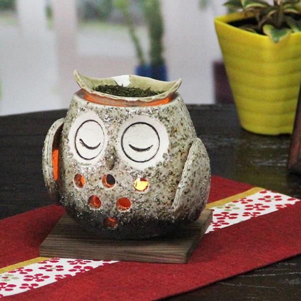 茶香炉 送料無料 ふくろう茶香炉 信楽焼 アロマポット 陶器 茶こうろ お茶 ギフト やきもの おやすみフクロウ茶香炉 ty-0010