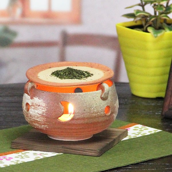 癒しの空間をつくる陶器、インテリアにも最適!信楽焼き火色灰吹茶香炉/アロマポット/お茶/陶器/しがらき/[ty-0011]