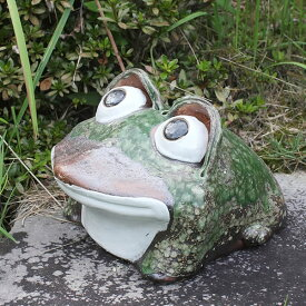信楽焼 9号丸目蛙 縁起物カエル お庭に玄関先に陶器蛙 やきもの 陶器 しがらきやき 蛙 陶器かえる 信楽焼カエル ka-0039