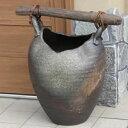 信楽焼 手付き傘立て(花瓶、花器) 玄関のインテリア 陶器 信楽焼かさたて 陶器傘立て 和風傘立て やきもの 傘たて つ…