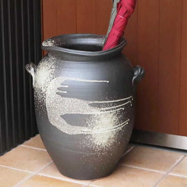 窯肌つぼ型傘立て 陶器傘立て 信楽焼かさたて 和風傘立て 傘入れ 壷 しがらき カサタテ やきもの傘立て かさたて陶器 玄関 花器 花瓶 つぼ型傘立て kt-0172