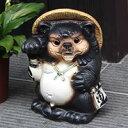 送料無料 シーサー狸(オス) 信楽焼たぬき縁起物タヌキ 陶器タヌキ たぬき置物 やきもの しがらきやき 焼き物 狸 タヌ…