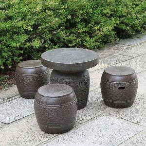 送料無料 16号信楽焼ガーデンテーブル 陶器テーブル 焼き物 お庭、ベランダ用庭園セット ガーデンテーブルセット 陶器 イス 信楽焼テーブル ガーデンセット 屋外用 te-0015