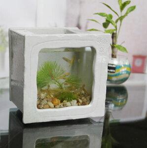 信楽焼 水槽 角型小(白色)陶器水槽 陶器とガラスがコラボ インテリア水槽 金魚鉢 メダカ鉢 陶器 水鉢 めだか鉢 信楽焼金魚鉢 鉢 はす鉢 睡蓮鉢 su-0213