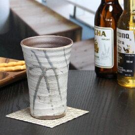 信楽焼 フリーカップ 花ちらし(ブルー)フリーカップ 信楽 ビアカップ 土ものカップ 陶器ビアカップ ビアグラス コップ やきもの器 焼き物 タンブラー ビアマグ 食器 w902-03